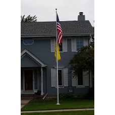 20' Powder Coat White Spun Aluminum External Halyard Flagpole (residential)