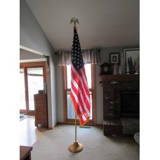 "8' x 1-1/4"" Indoor Two Piece Gold Deluxe Aluminum Pole Set & 3' x 5' United States Nylon Flag"